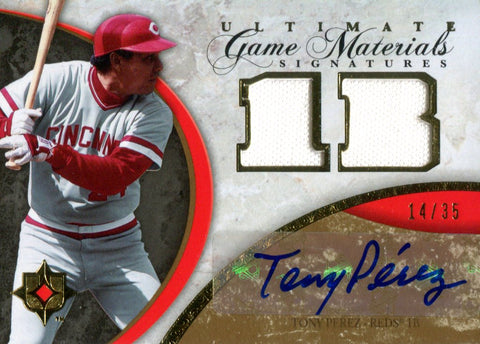 Tony Perez Autographed 2006 Upper Deck Ultimate Collection Game Materials Jersey Card