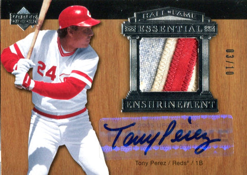 Tony Perez Autographed 2005 Upper Deck Essential Enshrinement Jersey Card