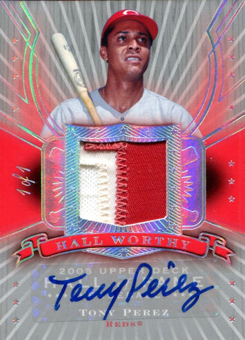 Tony Perez Autographed 2005 Upper Deck Hall Worthy Jersey Card