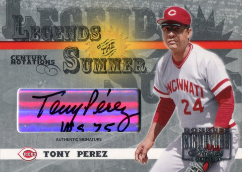 "Tony Perez ""WS 75"" Autographed 2003 Donruss Signature Series Legends of the Summer Card"