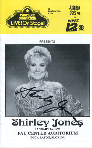 Shirley Jones Autographed Concert Showcase Live! On Stage Program