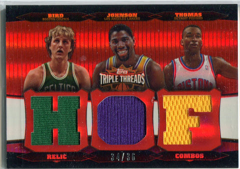 Larry Bird, Magic Johnson, & Isiah Thomas 2007 Topps Triple Patch Card #34/36