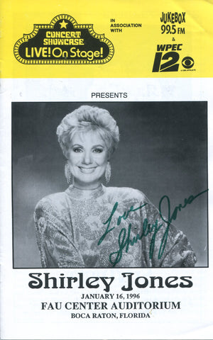 Shirley Jones Autographed Concert Showcase Live On Stage Program