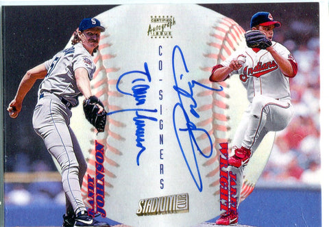 Randy Johnson & Jaret Wright 1998 Topps Stadium Club Autographed Card