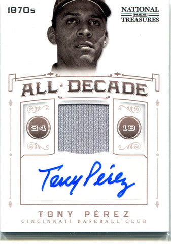Tony Perez Autographed 2012 Panini National Treasures All Decade Jersey Card #10/25