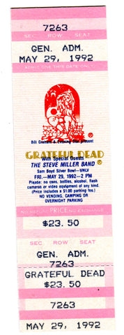 Grateful Dead with Steve Miller Band May 29,,1992 Full Concert Ticket