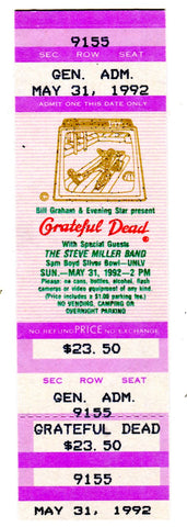 Grateful Dead with Steve Miller Band May 31,1992 Full Concert Ticket