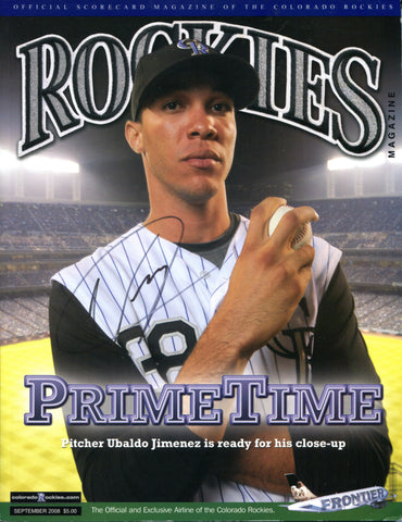 Ubaldo Jimenez Autographed 2008 Colorado Rockies Program