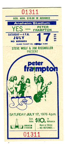 Peter Frampton Anaheim Stadium July 17,1976 Full Concert Ticket
