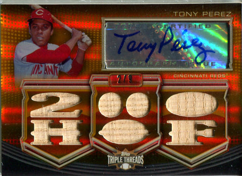 Tony Perez Autographed Topps Triple Threads Gold Autographed Card #2/9