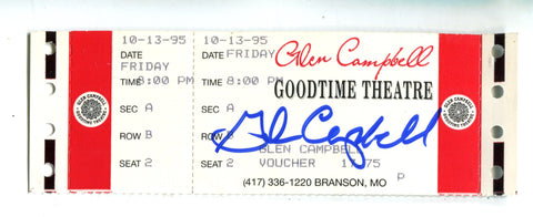 Glen Campbell Goodtime Theatre October 13,1995 Autographed Full Concert Ticket