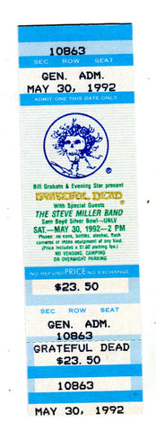 Grateful Dead with Steve Miller Band UNLV May 30,1992 Full Concert Ticket