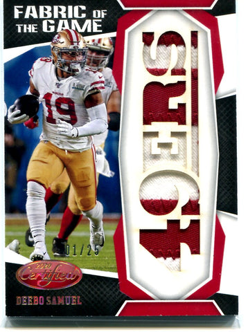 Deebo Samuel 2020 Certified Fabric Of The Game 01/25