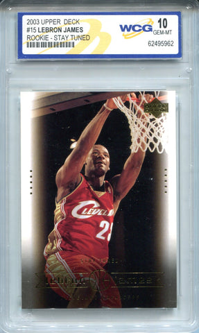 LeBron James 2003-04 Upper Deck Stay Tuned Rookie Card (WCG)