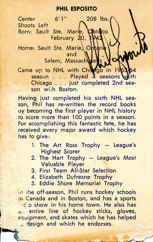 Phil Esposito Autographed Boston Bruins 3x5 Card (JSA)