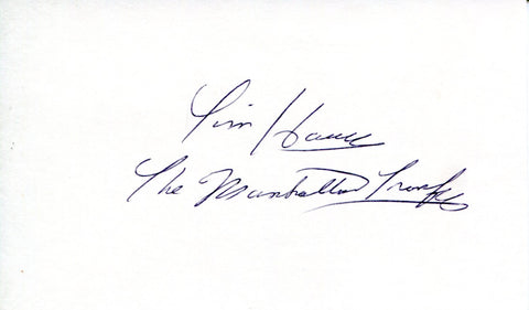 "Tim Hauser ""The Manhattan Transfer"" Autographed 3x5 Card (JSA)"