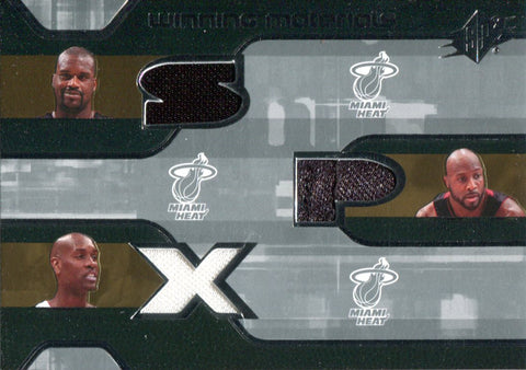 2007-08 Shaquille O'Neal, Alonzo Mourning & Gary Payton Upper Deck SPx Winning Materials Jersey Card