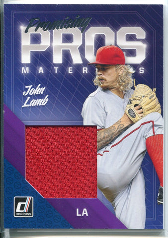 John Lamb 2018 Panini Donruss Promising Pro Materials Jersey Card