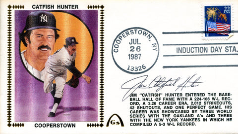 Jim Catfish Hunter Autographed July 26th, 1987 First Day Cover (PSA)