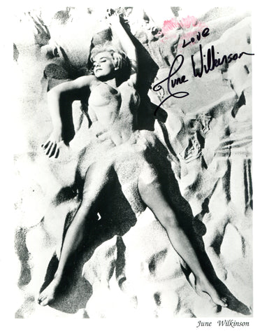 June Wilkinson Autographed Beach 8x10 Photo (JSA)