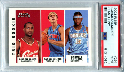 LeBron James, Carmelo Anthony & Darko Milicic 2003 Fleer Tradition Rookie Card (PSA)
