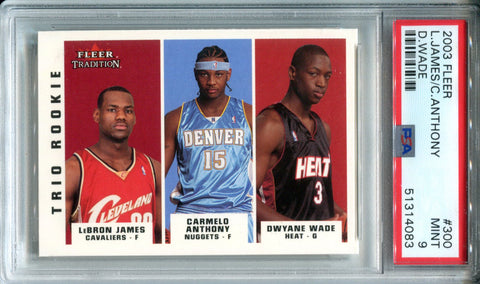 LeBron James, Dwyane Wade & Carmelo Anthony 2003 Fleer Tradition Rookie Card (PSA)