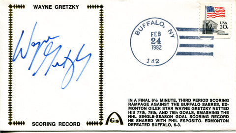 Wayne Gretzky Autographed February 24th, 1982 First Day Cover (PSA)