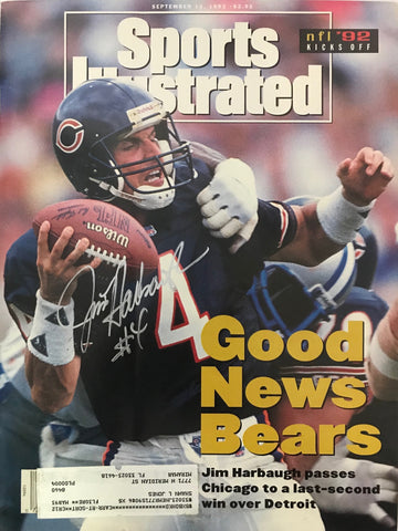 Jim Harbaugh Signed Sports Illustrated September 14 1992