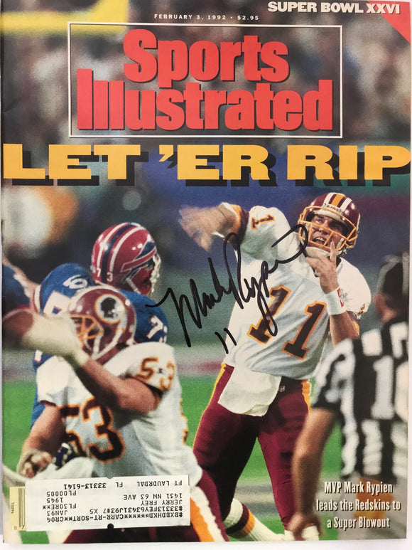Mark Rypien Signed Sports Illustrated February 3 1992