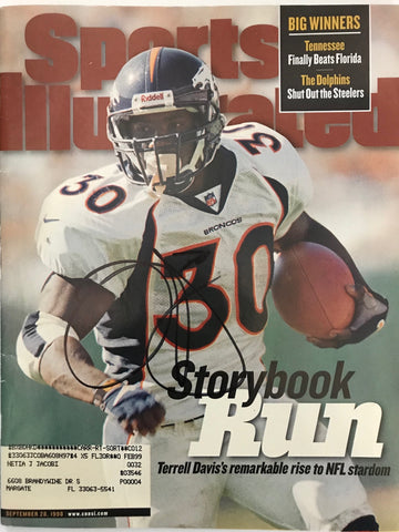 Terrell Davis Signed Sports Illustrated September 28 1998