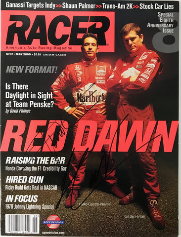 Helio Castroneves & Gil de Ferran Signed Racer Magazine May 2000