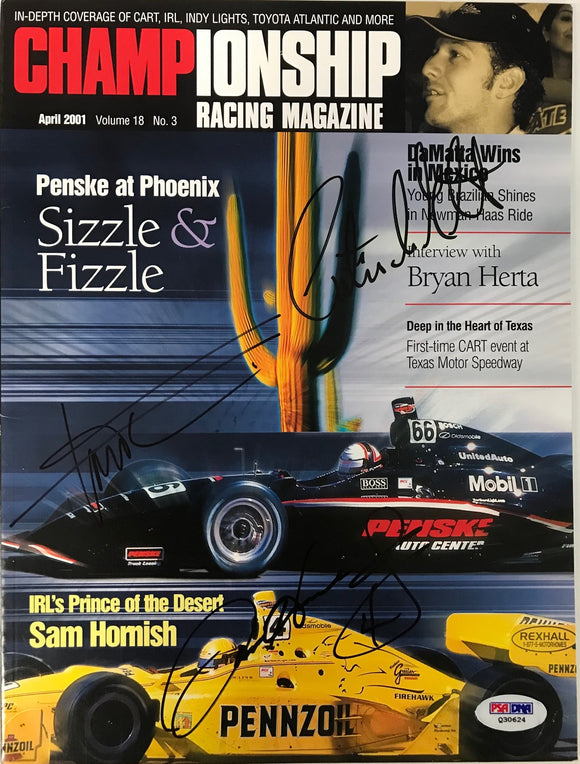 Sam Hornish Jr  Christian Da Matta Gil de Ferran Signed Championship Racing April 2001 (PSA)
