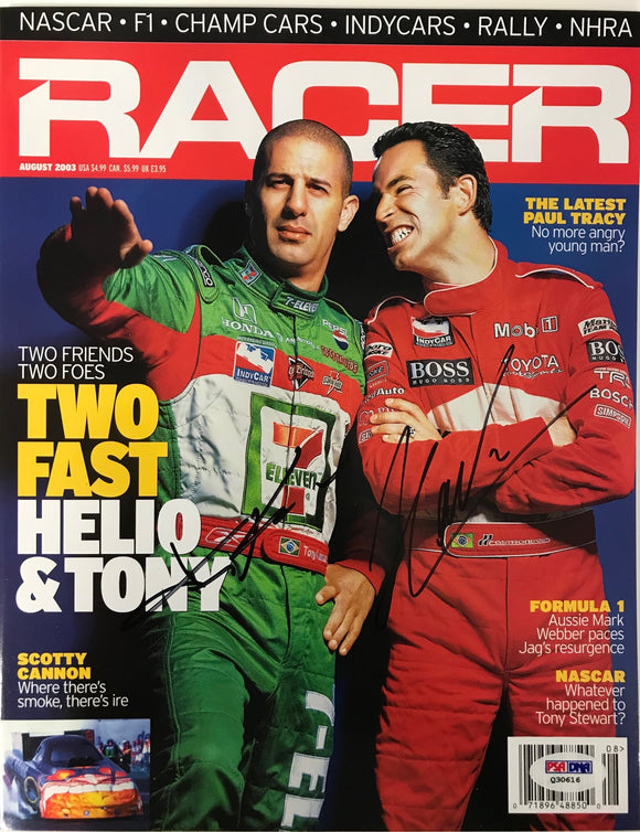Tony Kanaan Helio Castroneves Signed Racer Magazine (PSA)