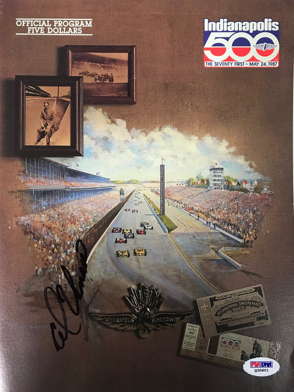 Al Unser Signed Indianapolis 500 Program May 24 1987 (PSA)