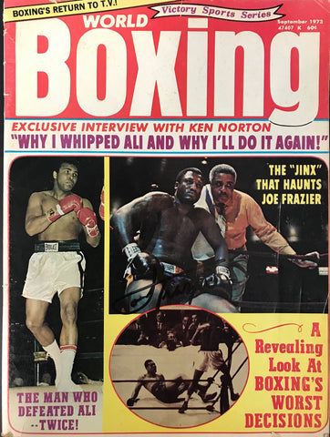 Joe Frazier Signed World Boxing Magazine September 1973