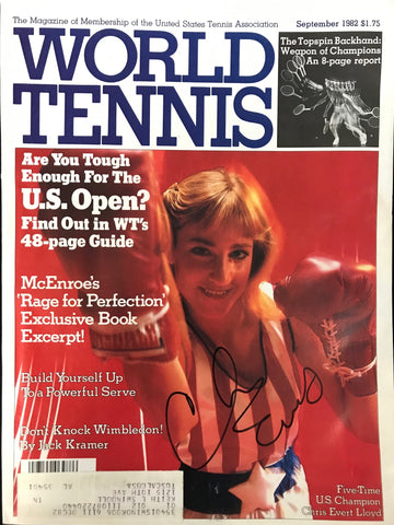 Chris Evert Signed World Tennis Magazine September 1982
