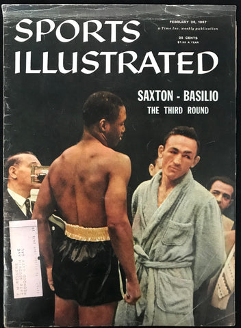 Johnny Saxton & Carmen Basilio Unsigned Sports Illustrated February 25 1957