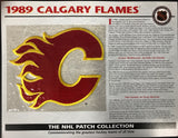 1989 Calgary Flames Official Patch on Team History Card