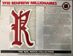 NHL 1910 Renfrew Millionaires Official Patch on Team History Card