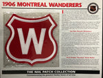 NHL 1906 Montreal Wanderers Official Patch on Team History Card