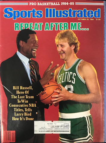 Bill Russell & Larry Bird Unsigned Sports Illustrated Magazine October 29 1984