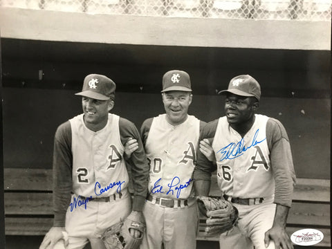 Wayne Causey Ed Lopat & Ed Charles Signed 8x10 Photo (JSA)