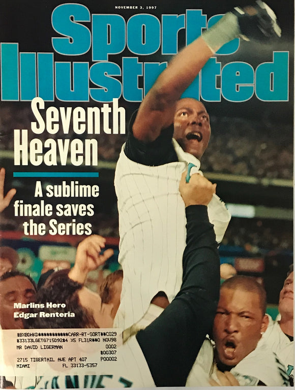 Edgar Renteria Unsigned Sports Illustrated Magazine  November 3 1997