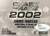 Jimmie Johnson Autographed 2002 Racing Champions Card (JSA)