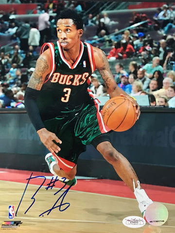 Brandon Jennings Signed Basketball 8x10 Photo (JSA) Milwaukee Bucks