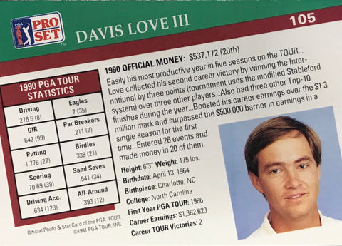 Davis Love III Signed 1991 Pro Set Card