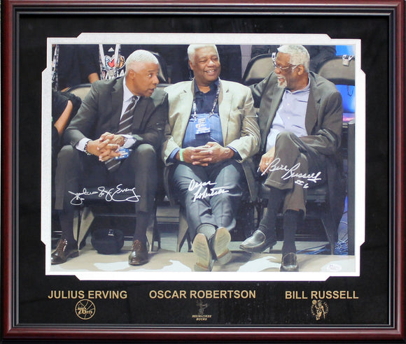 Bill Russell, Oscar Robertson & Julius Erving Autographed Framed 16x20 Photo (JSA)