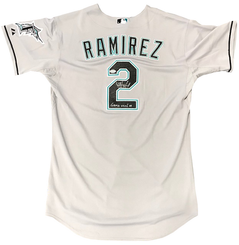 "Hanley Ramirez ""Game Used 09"" Autographed Game Used Grey Jersey"