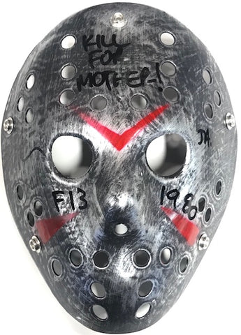 "Ari Lehman ""Kill For Mother"" Autographed Friday the 13th Jason Voorhees Silver Mask"