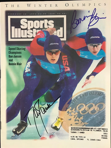 Bonnie Blair & Dan Jansen Signed Sports Illustrated Magazine February 28 1994